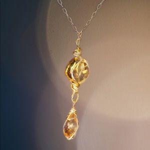 14k gold filled, yellow sapphire and orange garnet